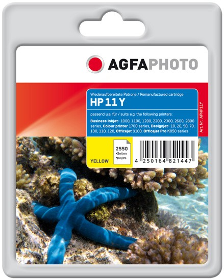 AGFAPHOTO Tintenpatrone Kompatibel zu HP11 / C4838A Yellow