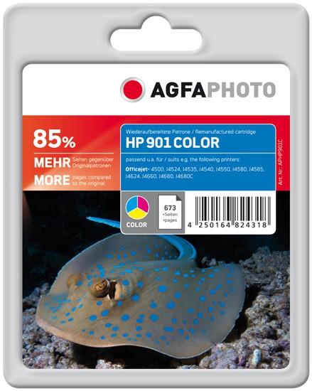 AGFAPHOTO Tintenpatrone kompatibel zu HP 901 / CC656AE Color (85% MEHR)
