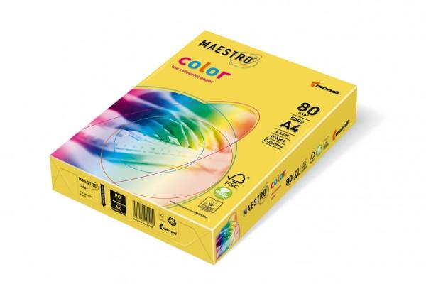 Kopierpapier Maestro-Color intensiv, DIN A4, 80g/qm, kanariengelb, 100.000 Blatt