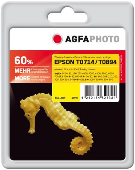 AGFAPHOTO Tintenpatrone kompatibel zu Epson T0714/T0894 C13T07144011/C13T08944011 Yellow