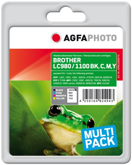 Multipack! AGFAPHOTO Tintenpatronen kompatibel zu Brother LC1100VALBPDR (4)