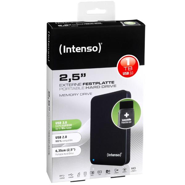 Externe Festplatte, Intenso Portable Hard Drive, 2.5 HDD Drive, 1TB, USB 3.0 black