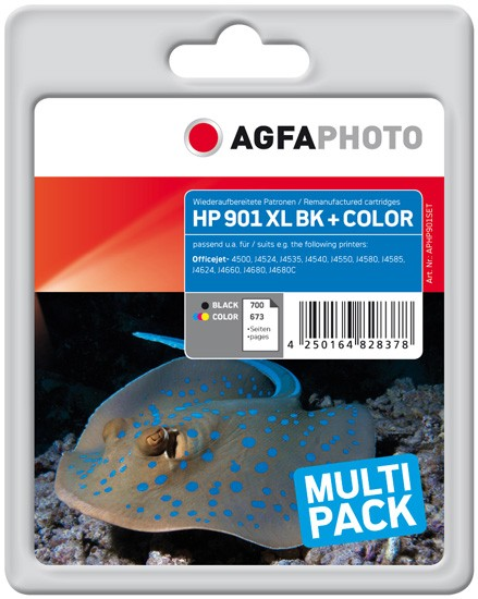 Multipack! AGFAPHOTO Tintenpatronen kompatibel zu HP 901XL Black+Color