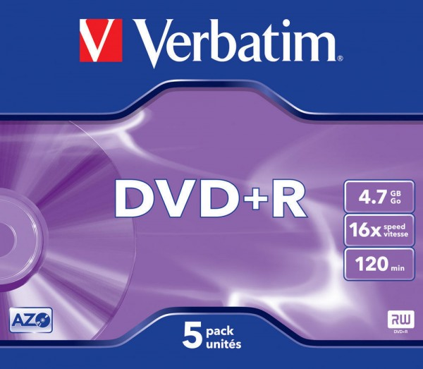 DVD+R Verbatim 4.7GB 120Min.16x Jewel Case Matt Silver (5 Stck)