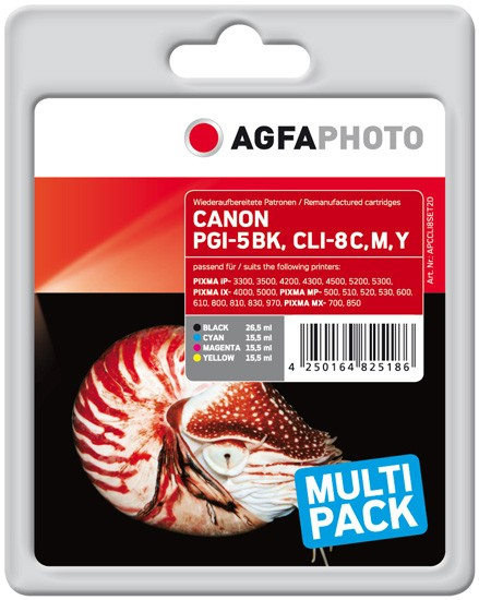 Multipack! AGFAPHOTO Tintenpatronen kompatibel zu Canon PGI-5 / CLI-8 (4)