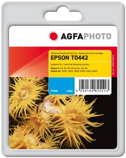 Original AGFAPHOTO Tintenpatrone kompatibel zu Epson T0442-C13T04424010 Cyan