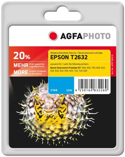 AGFAPHOTO Tintenpatrone kompatibel zu Epson 26XL-T2632-C13T26324010 Cyan