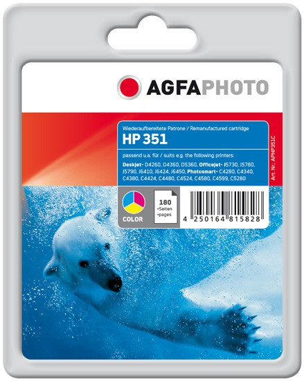 AGFAPHOTO Tintenpatrone kompatibel zu HP 351 / CB337EE Color (12ml)