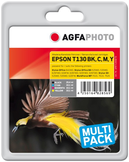 Sparpack! AGFAPHOTO Tintenpatronen Kompatibel zu Epson T130 XL (4 Stck. T1301-T1304)
