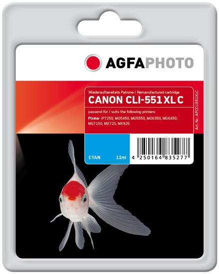 AGFAPHOTO Tintenpatrone Kompatibel zu Canon CLI-551XL Cyan