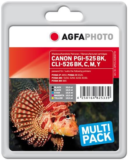 Sparpack! AGFAPHOTO Tintenpatronen kompatibel zu Canon PGI-525 / CLI-526