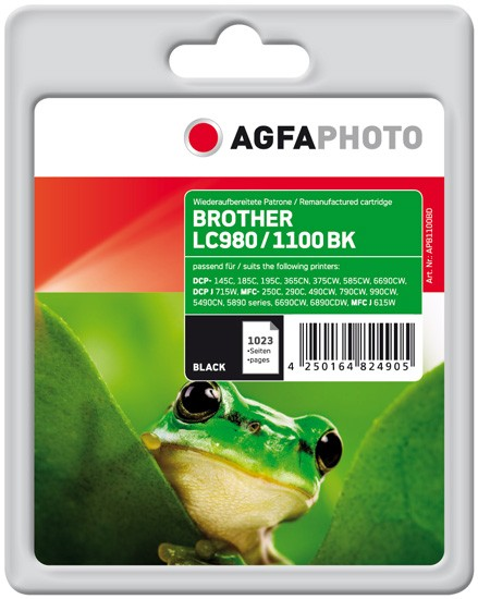 AGFAPHOTO Tintenpatrone Kompatibel zu Brother LC980BK / LC1100BK Black