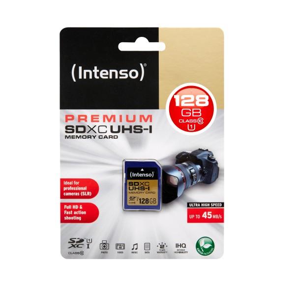 Intenso 3421491 SDXC-Card 10 UHS-I Premium, Klasse 10 (128GB)