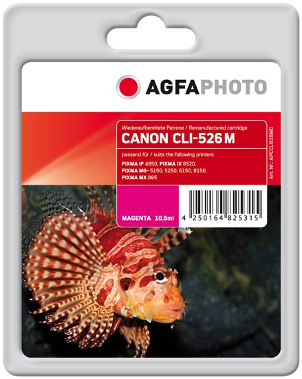 AGFAPHOTO Tintenpatrone kompatibel zu Canon CLI-526 Magenta