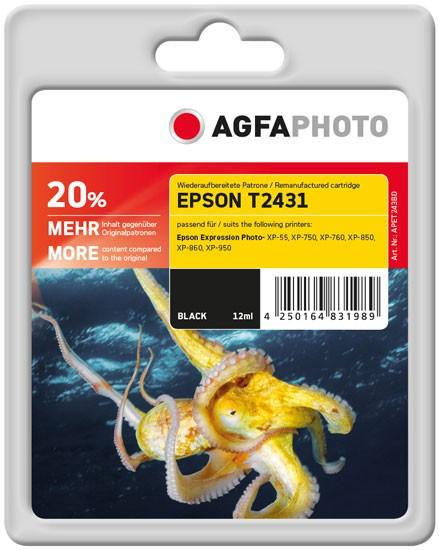 AGFAPHOTO Tintenpatrone Kompatibel zu Epson 24XL-T2431-C13T24314010 Black