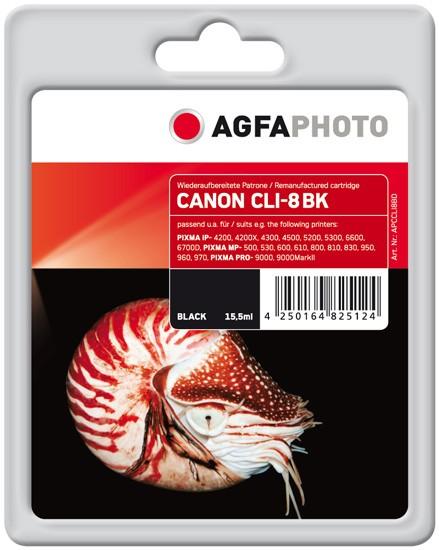 AGFAPHOTO Tintenpatrone kompatibel zu Canon CLI-8 Black