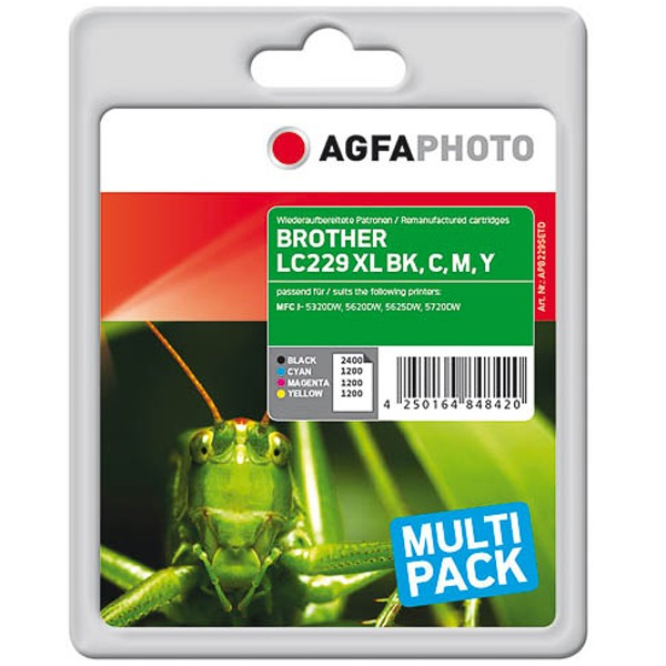 Multipack! AGFAPHOTO Tintenpatronen kompatibel zu Brother LC229XLVALBPDR LC229XL LC225XL (4)