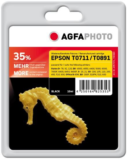 AGFAPHOTO Tintenpatrone kompatibel zu Epson T0711/T0891 C13T07114011/C13T08914011 Black