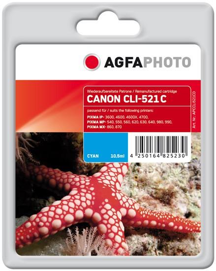 AGFAPHOTO Tintenpatrone kompatibel zu Canon CLI-521 Cyan