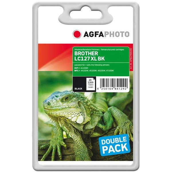 Doppelpack! AGFAPHOTO Tintenpatronen kompatibel zu Brother LC127XL LC127XLBKBP2DR Black (2)