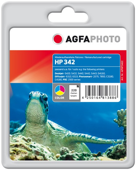AGFAPHOTO Tintenpatrone kompatibel zu HP 342 / C9361EE Color (12ml)