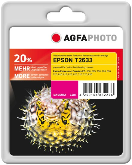 AGFAPHOTO Tintenpatrone kompatibel zu Epson 26XL-T2633-C13T26334010 Magenta