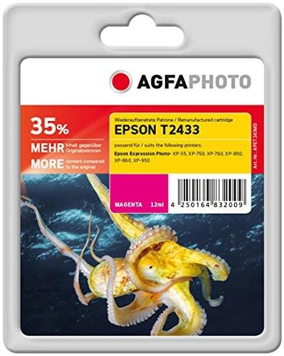 AGFAPHOTO Tintenpatrone Kompatibel zu Epson 24XL-T2433-C13T24334010 Magenta