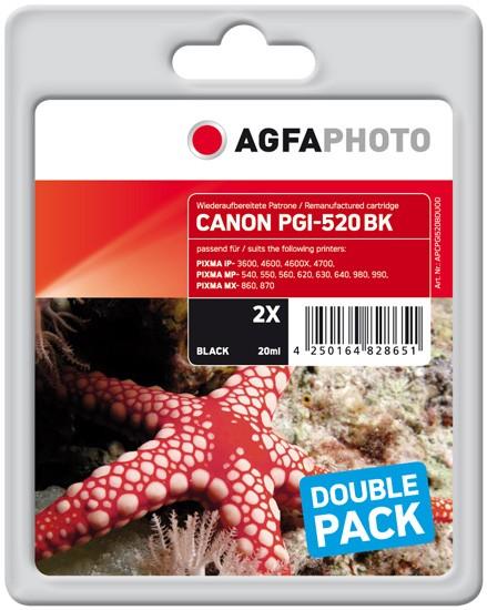 AGFAPHOTO Tintenpatrone Doppelpack kompatibel zu Canon PGI-520 Back
