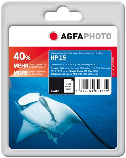 AGFAPHOTO Tintenpatrone kompatibel zu HP 15 / C6615DE Black (700 S.)