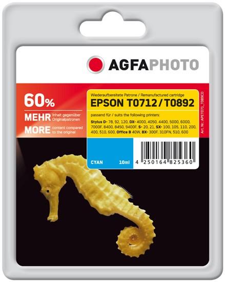 AGFAPHOTO Tintenpatrone kompatibel zu Epson T0712/T0892 C13T07124011/C13T08924011 Cyan