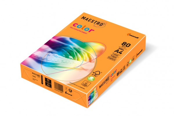 Kopierpapier Maestro-Color intensiv, DIN A4, 80g/qm, orange, 100.000 Blatt