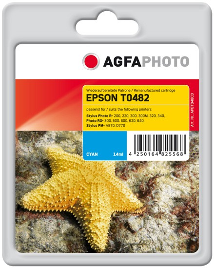 AGFAPHOTO Tintenpatrone kompatibel zu Epson T0482-C13T04824010 Cyan