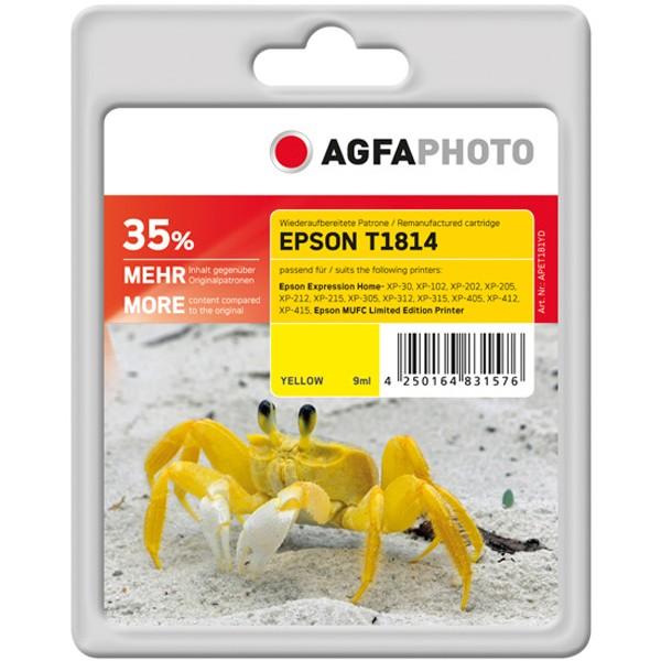 AGFAPHOTO Tintenpatrone Kompatibel zu Epson 18XL-T1814-C13T18144012 Yellow