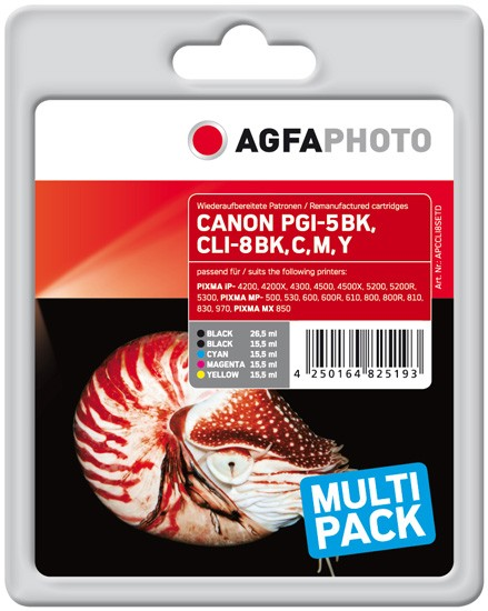 Multipack! AGFAPHOTO Tintenpatronen kompatibel zu Canon PGI-5 / CLI-8 (5)