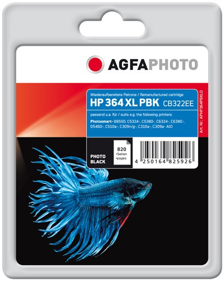 AGFAPHOTO Tintenpatrone Kompatibel zu HP 364XL / CB322EE Photo-Black