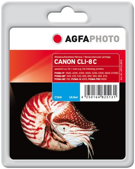 AGFAPHOTO Tintenpatrone kompatibel zu Canon CLI-8 Cyan