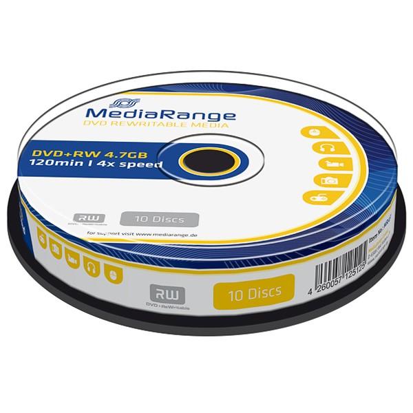 DVD+RW MediaRange MR451 4.7GB 120Min.4x Cake Box (10 Stck)