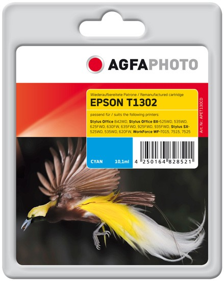 AGFAPHOTO Tintenpatrone Kompatibel zu Epson T1302 C13T13024012 Cyan (765 S.)