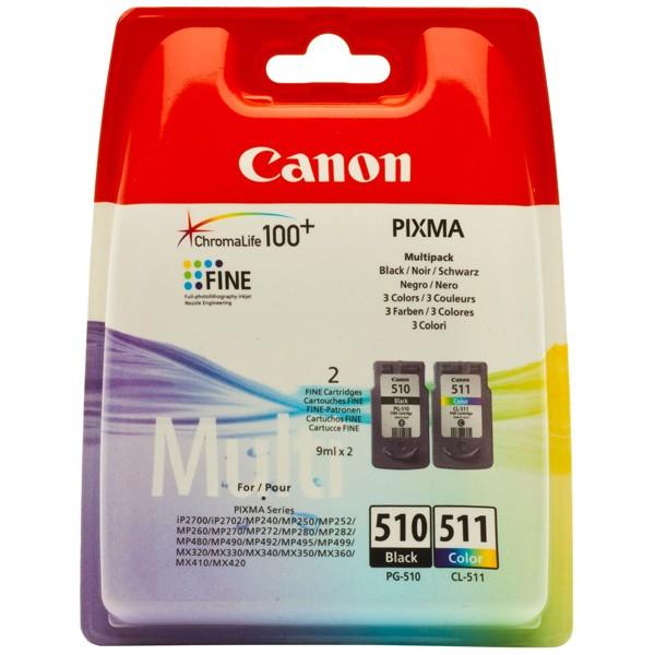 Multipack! Tintenpatrone Original Canon PG510 + CL511 2970B010