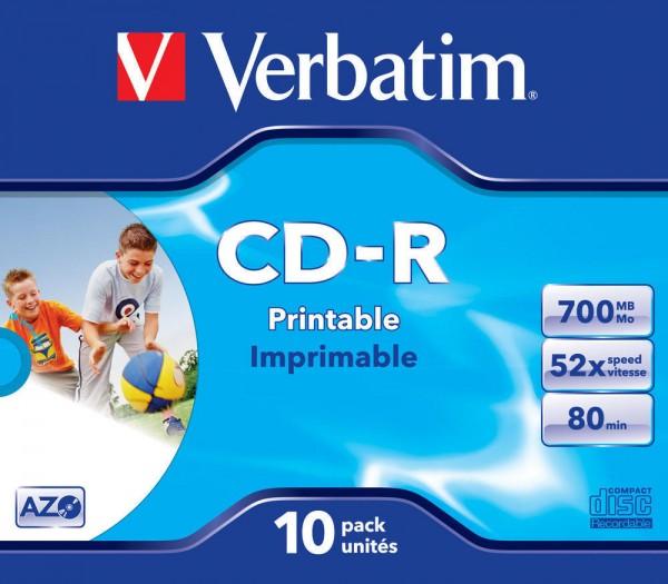 CD-R Verbatim 700MB 80Min.52x Wide Printable-bedruckbar, (10 Stck)