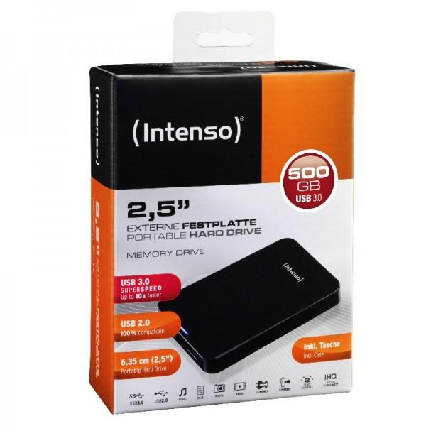 Externe Festplatte, Intenso Portable Hard Drive, 2.5 HDD Drive, 500GB, USB 3.0 black