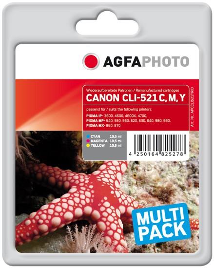 Multipack! AGFAPHOTO Tintenpatronen kompatibel zu Canon CLI-521 Z (3)
