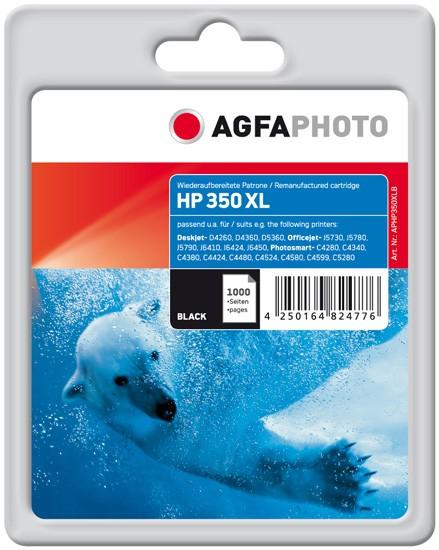 AGFAPHOTO Tintenpatrone kompatibel zu HP 350XL / CB336EE Black (34ml)