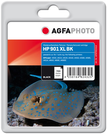AGFAPHOTO Tintenpatrone kompatibel zu HP 901XL / CC654AE Black