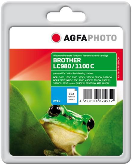 AGFAPHOTO Tintenpatrone Kompatibel zu Brother LC980C / LC1100C Cyan