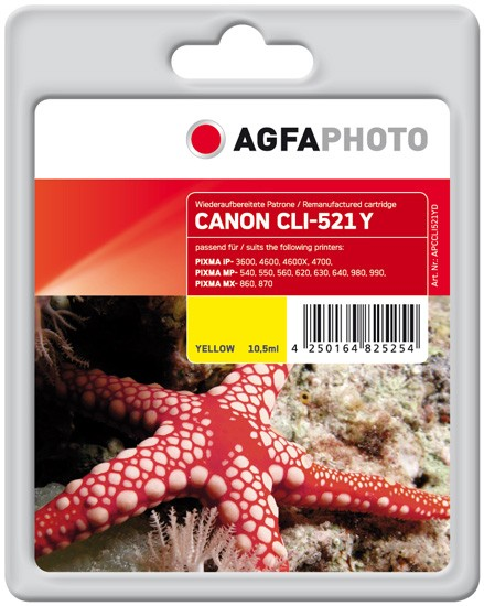AGFAPHOTO Tintenpatrone kompatibel zu Canon CLI-521 Yellow