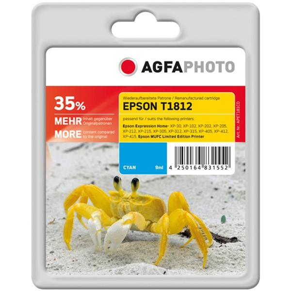 AGFAPHOTO Tintenpatrone Kompatibel zu Epson 18XL-T1812-C13T18124012 Cyan