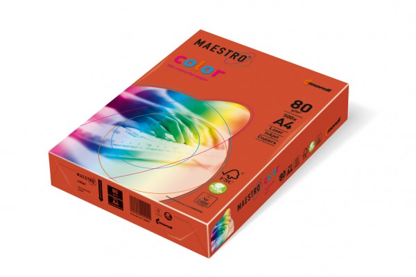 Kopierpapier Maestro-Color intensiv, DIN A4, 80g/qm, ziegelrot, 2.500 Blatt