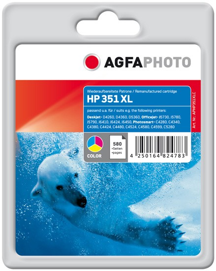 AGFAPHOTO Tintenpatrone kompatibel zu HP 351XL / CB338EE Color (21ml)