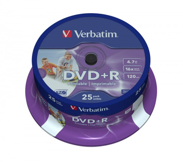 DVD+R Verbatim 4.7GB 120Min.16x Wide Photo Printable-bedruckbar (25 Stck)